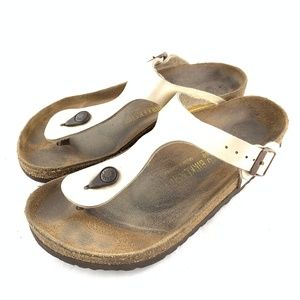 Gizeh thong sandals suede footbed beige off white
